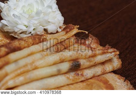 Photo Of Pancakes On A Wooden Board Close-up