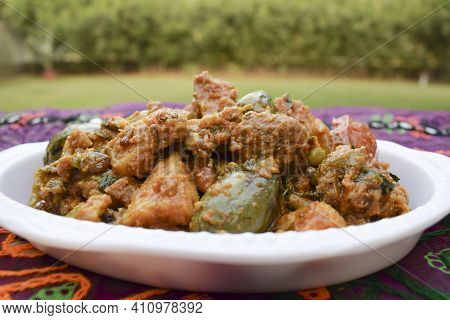 Top View Of Undhiyu A Gujarati Traditional Winter Season Festival Indian Cuisine Very Popular During