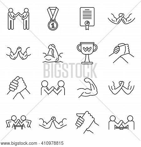 Sport Arm Wrestling Icons Set. Outline Set Of Sport Arm Wrestling Vector Icons For Web Design Isolat