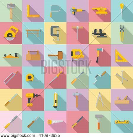 Carpenter Tools Icons Set. Flat Set Of Carpenter Tools Vector Icons For Web Design