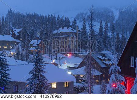 View Of A Famous Ski Resort At Twilight. Dragobrat, Ukraine