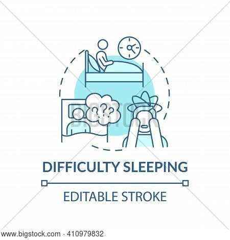 Difficulty Sleeping Concept Icon. Anxiety And Depression Idea Thin Line Illustration. Stress And Ins