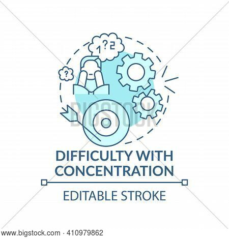 Difficulty With Concentration Concept Icon. Psychological Therapy Idea Thin Line Illustration. Emoti