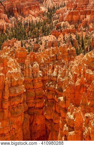 A panoramic view of the sandstone spires of Bryce Canyon National Park, United States