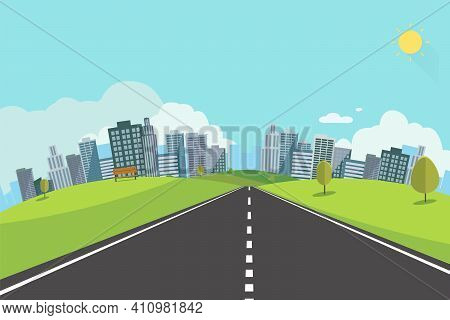 Cityscape Scene With Road , Trees And Sky Background Vector Illustration.main Street To Town Concept