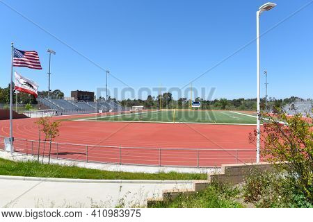 IRVINE, CALIFORNIA - 16 APRIL 2020: Football Stadium at University High School, The first high school in Irvine, is a top rated public school in Orange County.