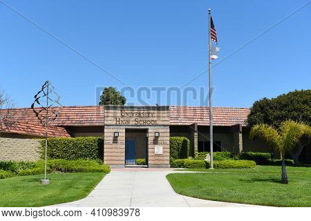 IRVINE, CALIFORNIA - 16 APRIL 2020: University High School, The first high school in Irvine, is a top rated public school in Orange County.