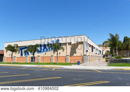 IRVINE, CALIFORNIA - 16 APRIL 2020: Gymnasium at University High School, The first high school in Irvine, is a top rated public school in Orange County.