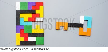 Key And Keyhole Shape Of Geometric Colorful Wood Puzzle Pieces. Logical Thinking, Business Logic, Co