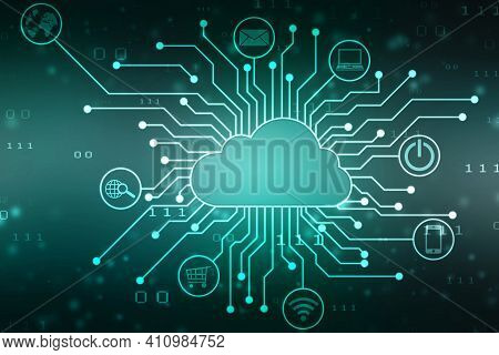 2d Illustration Of Cloud Computing, Cloud Computing Concept, Cloud Computing Data Base Technology In