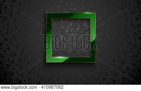 Vector Square Glossy Luxury Green And Golden Line Frame On Black Floral Pattern Background. Trefoil