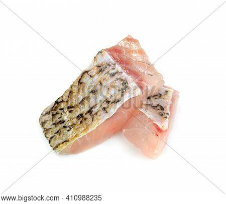 Barramundi Or Seabass Fish Sliced Isolated On White Background
