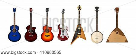 Stringed Musical Instruments Realistic Vector Set. Set Of Different Bright Realistic Guitars. Retro