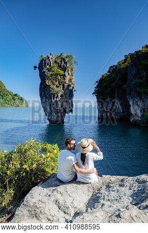 James Bond Island Near Phuket In Thailand. Famous Landmark And Famous Travel Destination, Couple Men