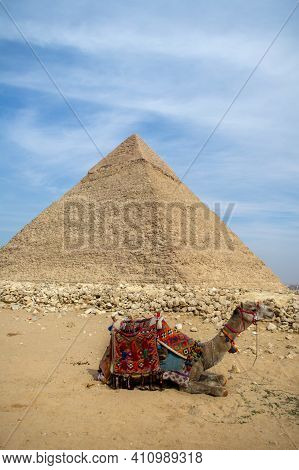 Cairo, Egypt - 03 Feb 2021. Great pyramids of ancient Egypt in Giza, Cairo