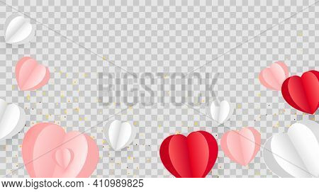 Heart Shaped 3d Illustration Object, Red, White, Pink Pastel Colors For Valentines Day Card Decorati