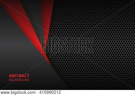 Black And Red Abstract Background With Carbon Fiber And Geometric Shapes. Black Carbon Textured Patt