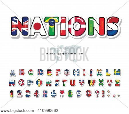 World Flags Cartoon Font. Paper Cutout Glossy Abc Letters And Numbers. Bright Alphabet For Tourism D