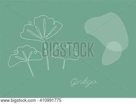 Botanical Vector Background With Ginkgo Biloba. Continuous One Line Drawing With Abstract Shape. Min
