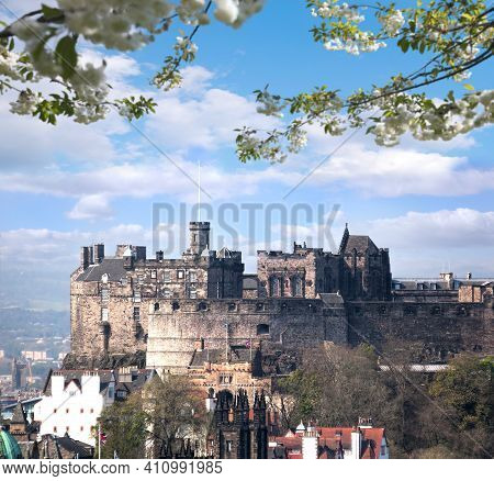 Famous Edinburgh Castle During Spring Time In Scotland