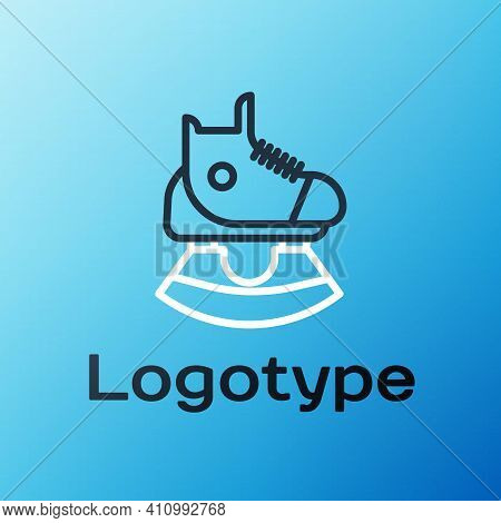 Line Skates Icon Isolated On Blue Background. Ice Skate Shoes Icon. Sport Boots With Blades. Colorfu