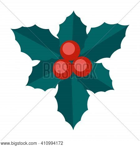 Simple Minimalistic Green Branch Of A Mistletoe With Leaves And Red Berries. Floral Collection Of Co