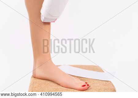 Cropped View, Perfect Female Fit Thin Soft Smooth Shine Depilating Legs Isolated On White Background