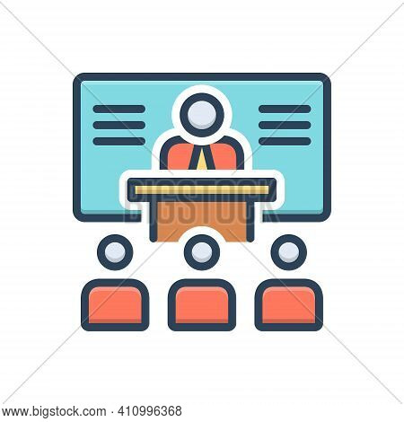 Color Illustration Icon For Training Instruction Teaching Coaching Tuition Tutoring People