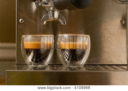 Double Shot Of Espresso With Crema
