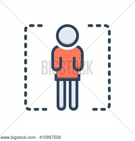 Color Illustration Icon For Single Solitary Individual Particular Alone Lonely Lonesome Person