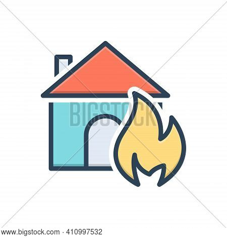 Color Illustration Icon For Suddenly Abruptly House Sudden Unexpected Incident Accident Burning Dang