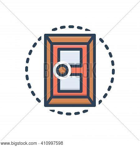 Color Illustration Icon For Door Doorknob Close Design Entrance Gateway Inlet Doorway Exit Entry Int