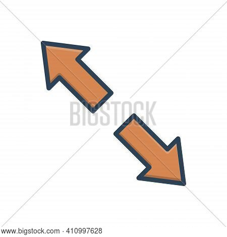 Color Illustration Icon For Extend Arrow Opposite Prolong Expand Enlarge Distend Develop Widen Broad