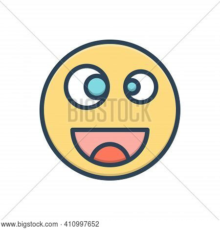 Color Illustration Icon For Funny Amusing Risible Comic Mirthful Queer Crazy Wacky Emoji Goofy Caric