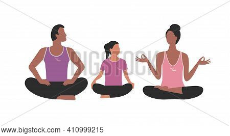 Family Fitness Exercises Simple Flat Icon Isolated. Mother, Father, Daughter Doing Yoga In Lotus Pos