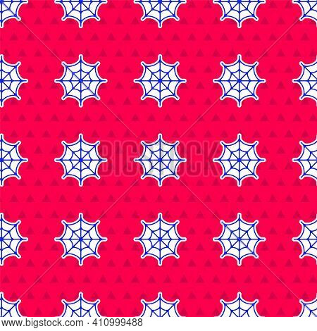 Blue Spider Web Icon Isolated Seamless Pattern On Red Background. Cobweb Sign. Happy Halloween Party