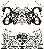 Stylized symmetric knot vignettes with birds. Vector illustration EPS8 poster