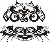 Stylized symmetric vignettes with dragons and cats. Vector illustration EPS8 poster