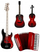 Red music instruments poster