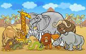 Cartoon Illustration of Funny Safari Wild Animals Group against Blue Sky and African Landscape poster