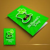 St. Patrick's Day greeting card or flyer with Leprechaun hat and shamrock on brown. EPS 10. poster