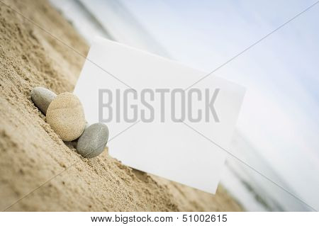 Blank White Sign On The Beach