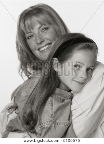 Black And White Portrait Of Mother Child On White