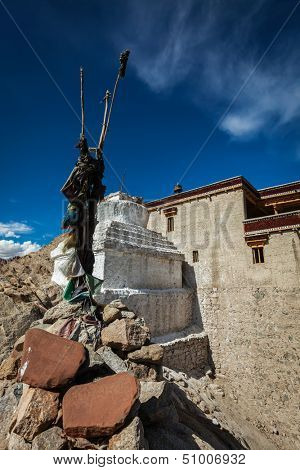 Chorten and Shey palace. Ladakh, India