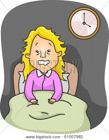 Illustration of an Insomniac Woman Up in Bed All Night