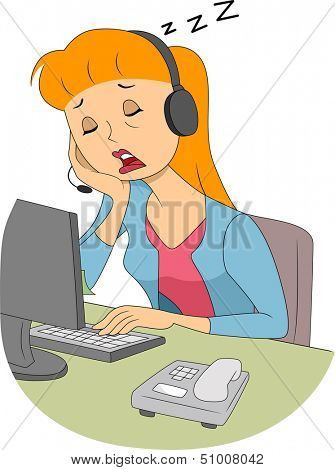 Illustration of a Girl Wearing a Headset Dozing Off in the Middle of Work