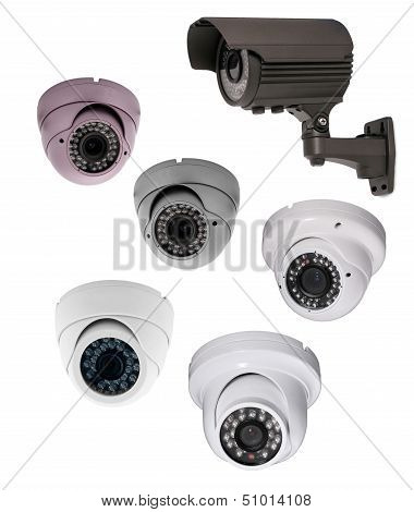 security camera isolated on white background. cctv
