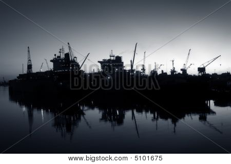 Docks At Sunset, Blue Version