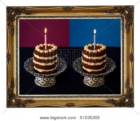 Chocolate Birthday Cake Burning Candle Golden Carved Frame
