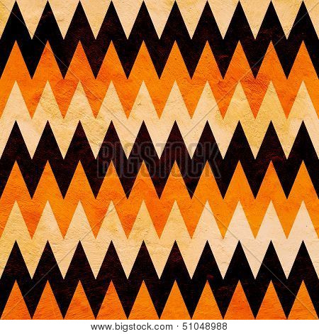 abstract grunge Halloween chevron pattern in white, pumpkin orange, and black poster